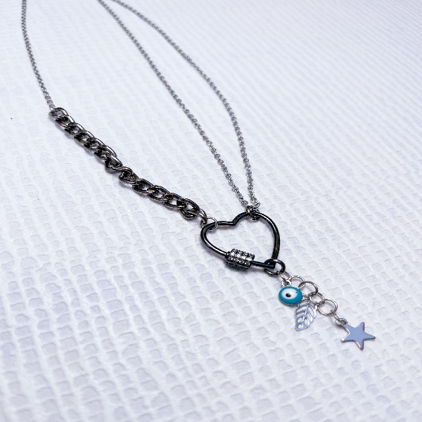 Silver Chain Neckpiece with Heart Carabiner and Trinkets