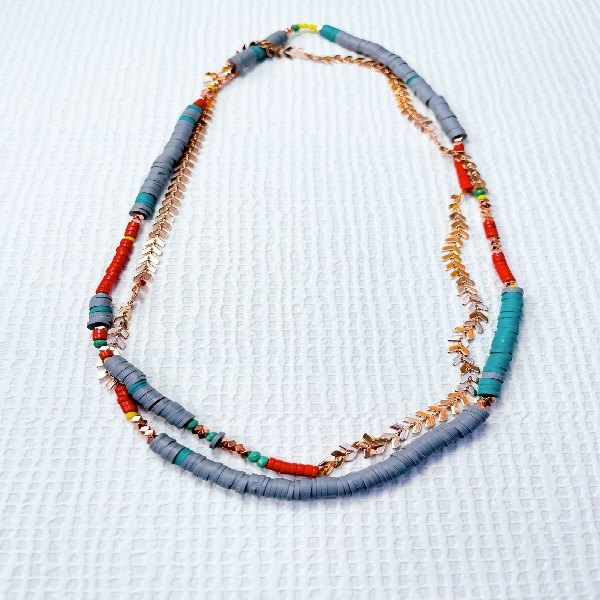 Extra Long Rosegold Neckpiece with Beads and Chain